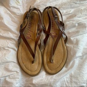Blowfish brown leather small wedge sandal size 8.5